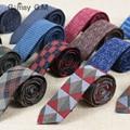 Moda Lã de Algodão Magro laços para homens Custom made marca Verificado Slim gravatas Dos Homens Para O presente