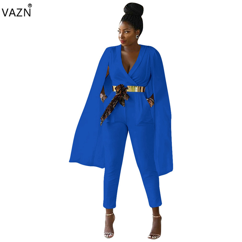 VAZN 2018 hot fashion 3-colors solid jumpsuits women v-neck mangas de capa sleeve jumpsuits ladies hollow out jumpsuits L5227