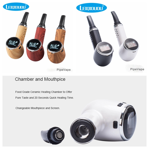 Leiqidudu Originale e pipe e sigarette penna vape erba secca Tempreture LED di controllo dello schermo di tabacco 1100 mah vaporizzatore vapore kit
