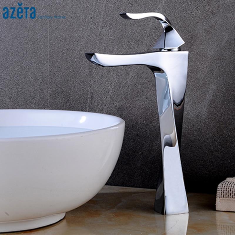 Azeta Chrome Brass Basin Faucet Bathroom High Spiral Shape Basin Tap Deck Mounted Single Handle Washbasin