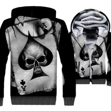 Skull & Poker 3D Hoodies Men 2019 Autumn Winter Casual Mens Jackets Thick Warm Fleece Sweatshirts Hipster Long Sleeve Hooded