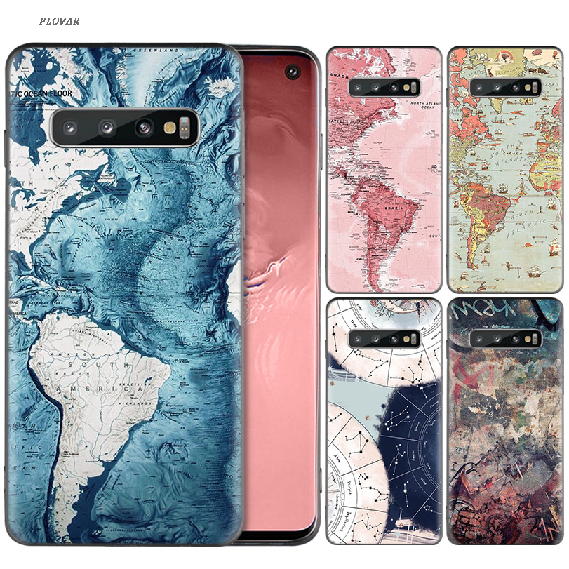 World Map Travel Plans Soft TPU Case For Samsung Galaxy A70 A80 A50 A20E M40 S10 Plus S10E A60 A40 A30 A20 A10 M30 M20 M10 Cover