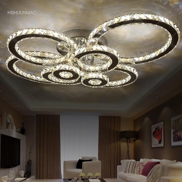 US $44.8 30% OFF|Kristall moderne led deckenleuchten für wohnzimmer  schlafzimmer Kreis Ringe Cristals Indoor LED Moderne Dimmen Deckenleuchte  Leuchten ...