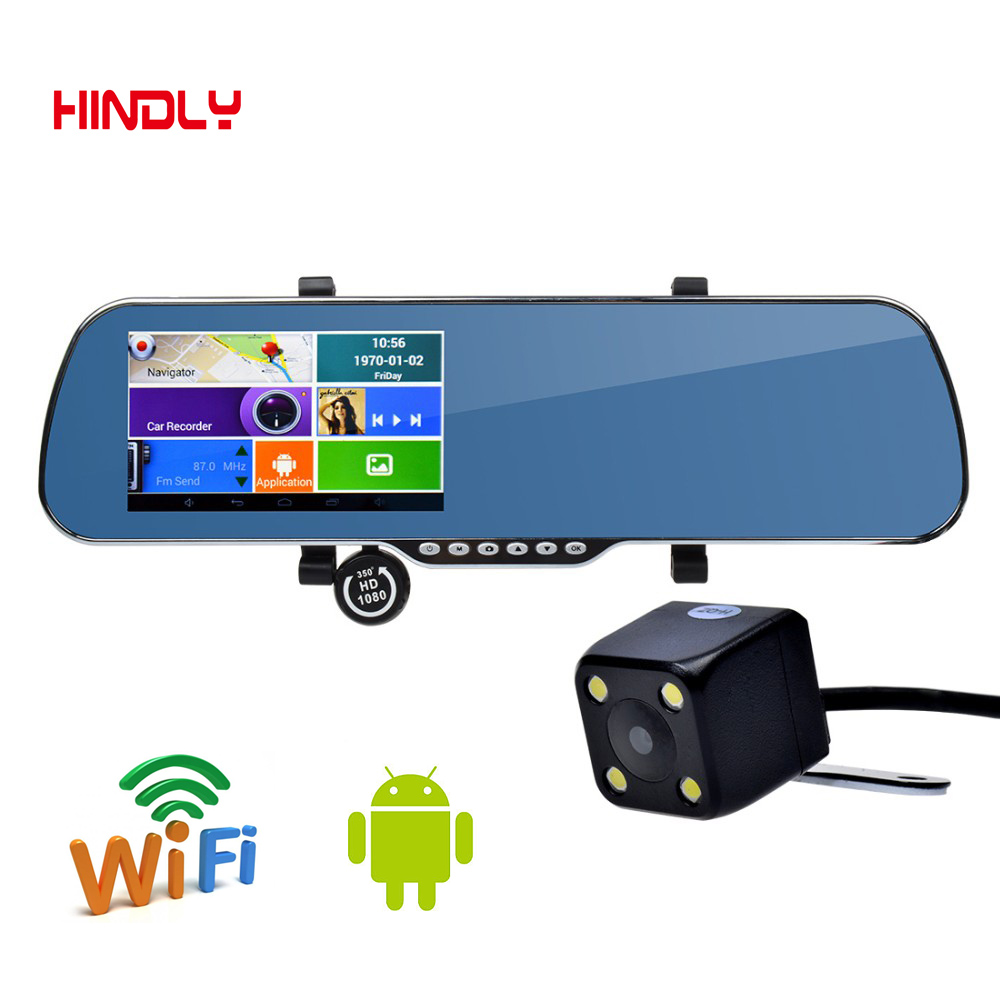 HDL 5 inch IPS Car GPS Navigation 8GB DVR Rearview mirror Android 4 4 Dual font