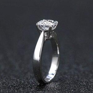 Image 2 - NiceGems Classic Moissanite Solitaire anillo de compromiso para mujer, 1ct, 2ct, 3ct, 4ct, Color F, oro blanco de 14K, anillo de moissanita