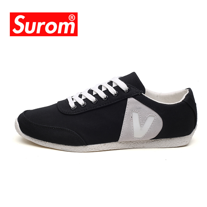SUROM Canvas Male Shoes Adult Classic Walking Shoes Breathable Jogging Flat Shoes