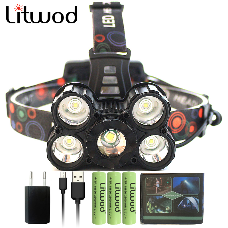 Litwod Zoomable Head Flashlight Power Bank head lamp 5T6/T64Q5 15000 lumens rechargeable Led Headlamp Z10 Waterproof Lights
