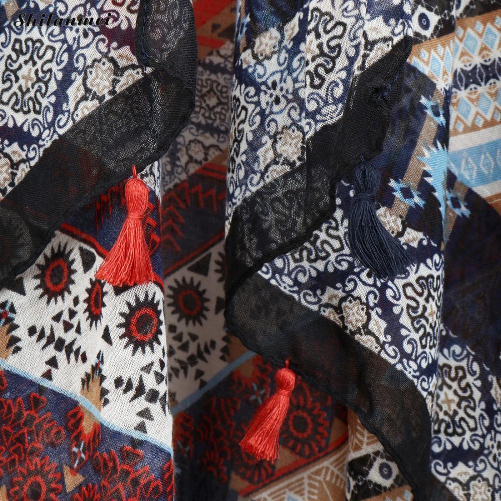 Women Chiffon Kimono Cardigan Floral Print Fringed Tassels Loose Boho Kimono Tops Plus Size Casual Blouse Blusas in Blouses amp Shirts from Women 39 s Clothing