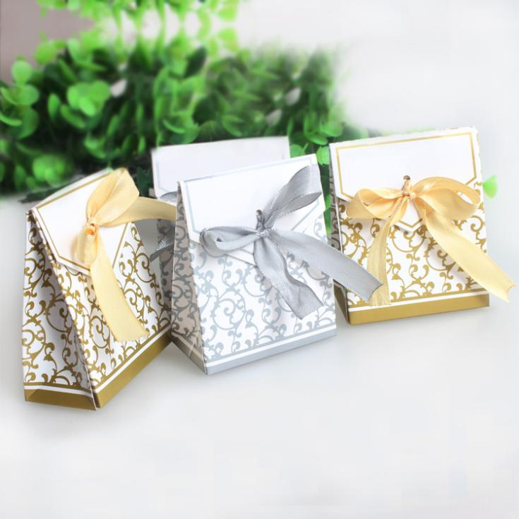 Hight Quality 50pcslot Silver Gold Ribbon Gift Bags Wedding Favor