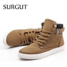 SURGUT Men Shoes 2018 Top Fashion New Winter Front Lace-Up Casual Ankle Boots Autumn Shoes Men Wedge Fur Warm Leather Footwear