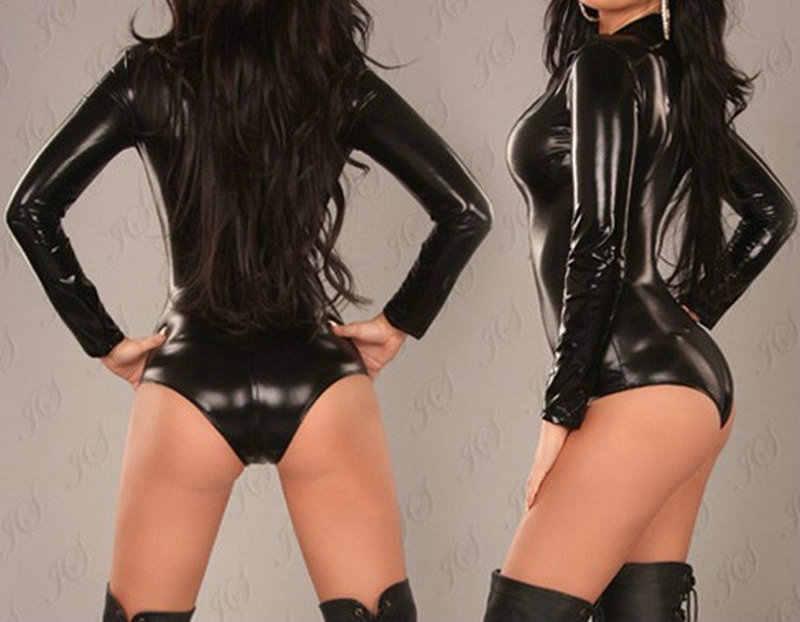 Sexy para mujer de cuero PU Lencería trajes eróticos leotardo trajes goma Flexible caliente látex Catwoman Porno ropa de dormir