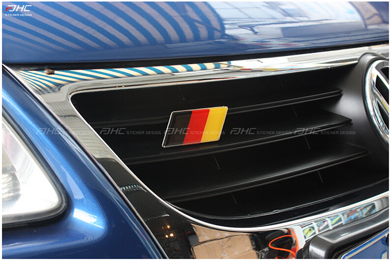 1X Universal Germany Flag Front Grill Emblem Sticker For Volkswagen VW Golf MK5 MK6 MK7 Passat Bora Scirocco Tiguan A3 A4 A5 germany flag new 100