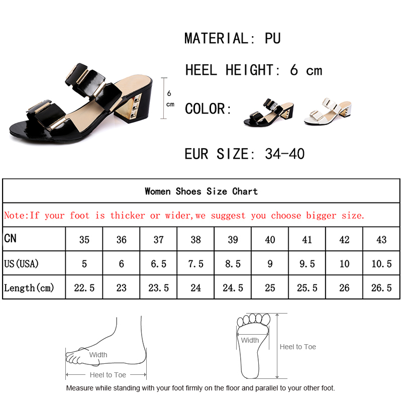 Lucyever Women Fashion Summer Sandals Hoofs Heels Metal Open Toe Party Shoes Woman Casual Patent Leather Rivets Flip Flops