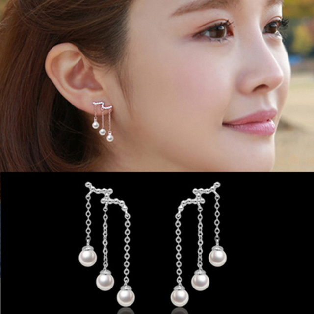 Three Layered Long Tel Style Pearl Pendant Earrings Korean Fashion Earring Silver Plated Quality Guarantee