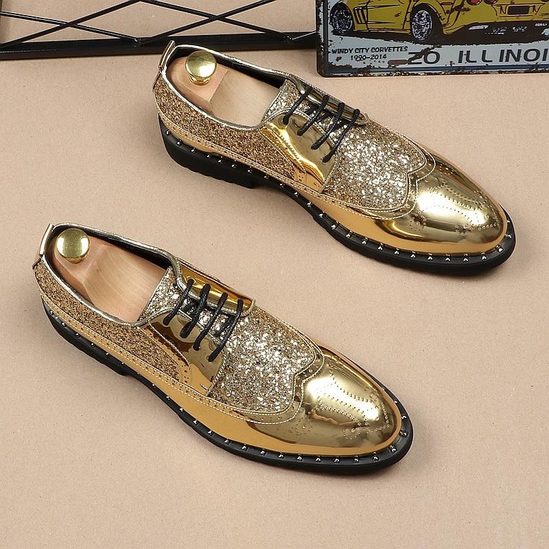 De Patentes Casamento Italiano Moda Plana Vestido Leatherr Lace Jozigbema Casual branco Formais Sapato Nova Oxfords Estilista Preto up Sapatos Mens ouro Ouro Dourado 0q0O8Tw