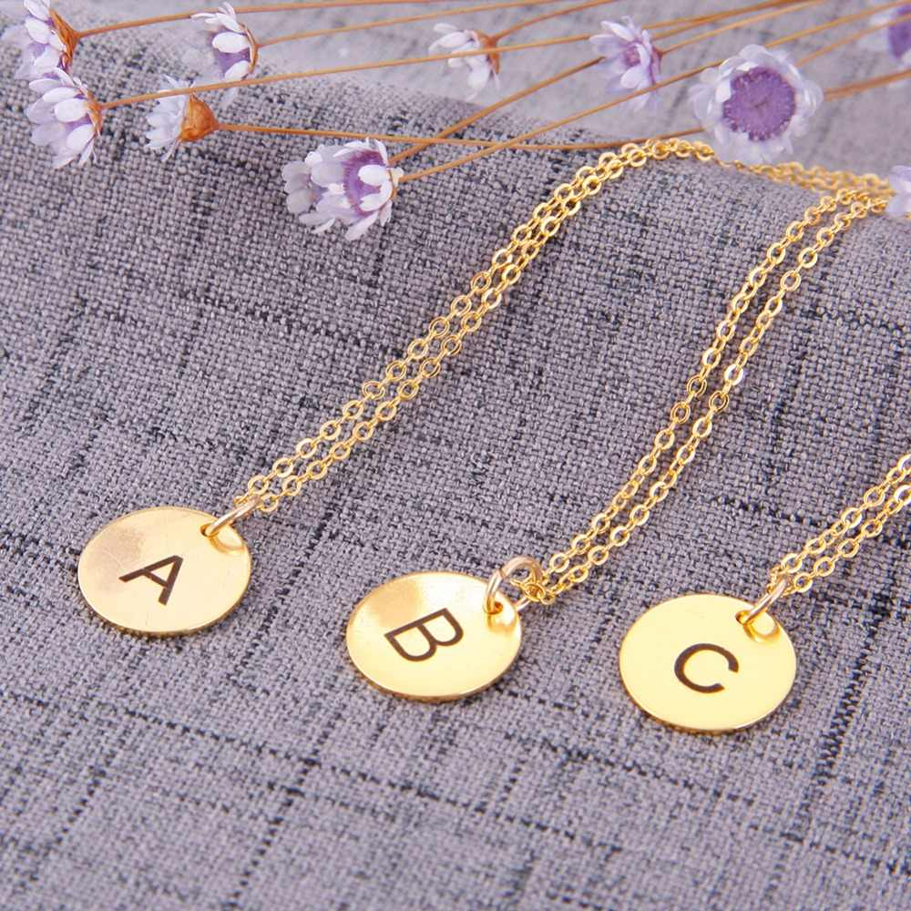 Simple Metal Round Coin Alphabet Letter Pendant Stainless Steel Choker Necklace Gold Chain Women Jewelry Accessories #248955