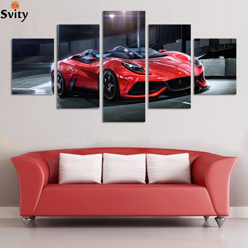Wall Art Picture 5 Panel Cool Orange Reflective Sports Car Large HD Canvas Print Painting For Living Room Decoration F194