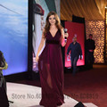 2017 Sexy Nancy Ajram Burgundy Celebrity Evening Dresses Deep V-neck Floor Length Chiffon Prom Dress Vestido De Festa Longo