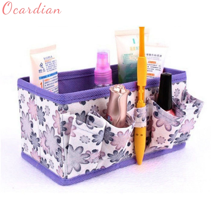 New Makeup Cosmetic Storage Box Bag Bright Organiser Foldable Stationary Container,make up maquillaje bag DEC7 multifunctional car storage box container beige