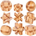 MINI Ancient kids educational learning wooden toys 3D IQ brainteaser adult burr puzzle lock and unlocking games