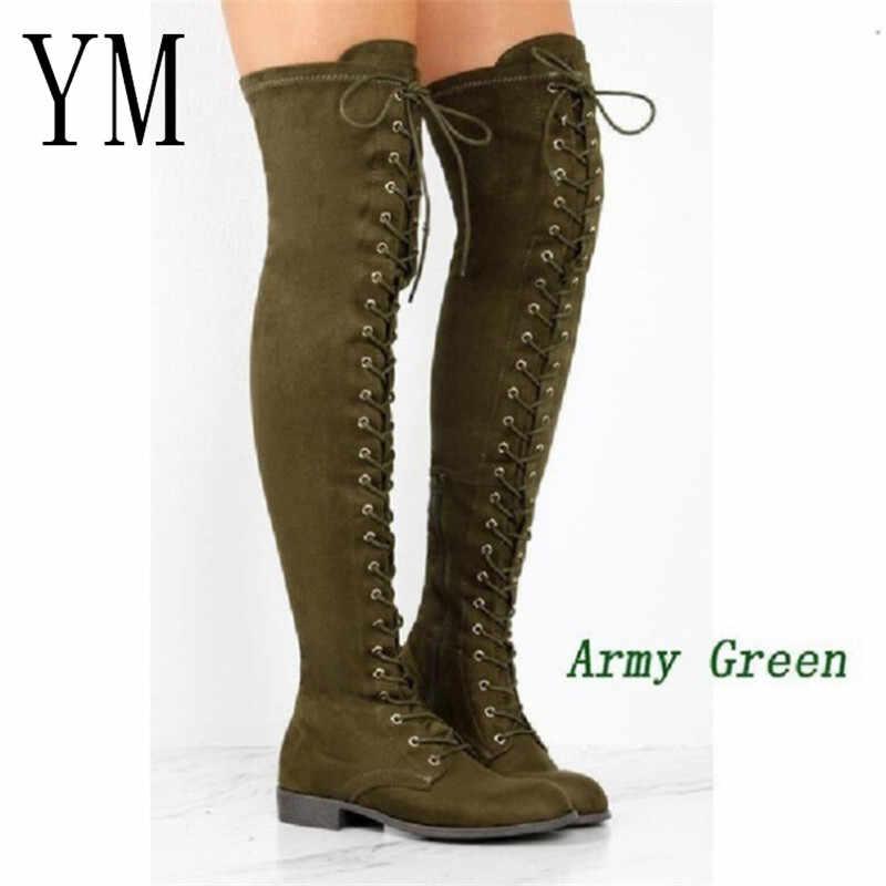 Duże 43 gorące buty damskie buty motocyklowe zimowe damskie modne buty na kwadratowym obcasie buty na kolanach zakolanówki długie buty zamszowe