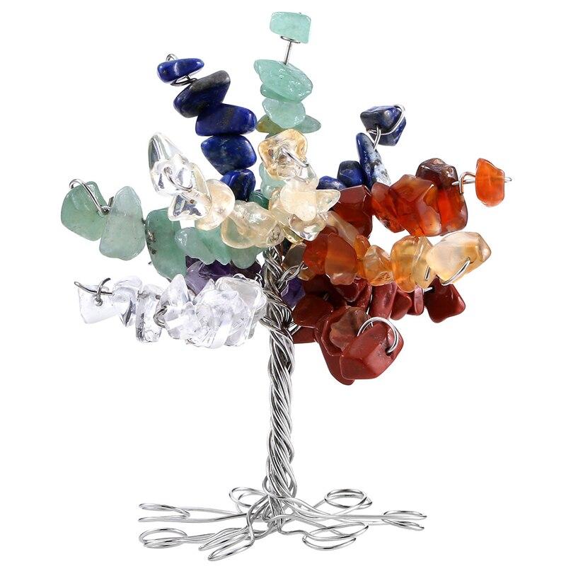 7 Чакр Кристалл Исцеления упали Природный Камни минералов и денежное дерево офисные Гостиная удачи украшения фигурка