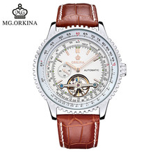 2016 Sale Hardlex Stainless Steel Round New Orkina Brand Watches Men s Watch Mechanical Genuine Leather