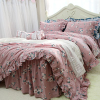 Hot Garden flower ruffle bedding set princess bedding quality cotton bed set handmade wrinkle king bedding set duvet cover set