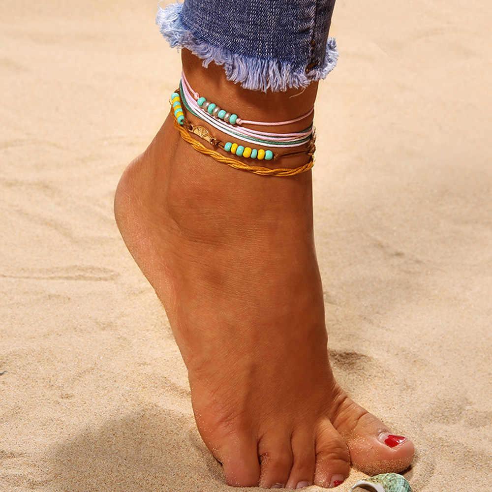 Seksi plaj meyve halhal kadınlar erkekler altın renk yalınayak zincir ayak bileği bilezik takı plaj yaz ayak bileği bilezik Las piernas 4H