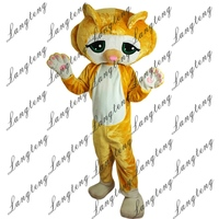 2018 New Hot Sale Lovely Yellow Cat Mascot Costume Adult Size Halloween Outfit Fancy Dress Suit Free Shipping