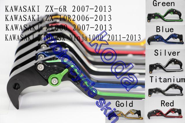 ФОТО Motorcycle CNC Brake Clutch Levers For KAWASAKI ZX-6R 07-13 ZX-10R 06-13 Z1000 07-13 Z1000SX/NINJA 1000/Tourer 11-13 Z750R 11-12