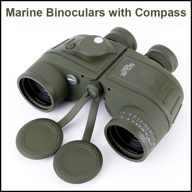 Waterproof 7x50 HD Marine Floating Boat Covered Compass Military Binocular Telescope with Interal Compass Rangefinder Reticle бинокль bushnell 7x50 marine compass 137500