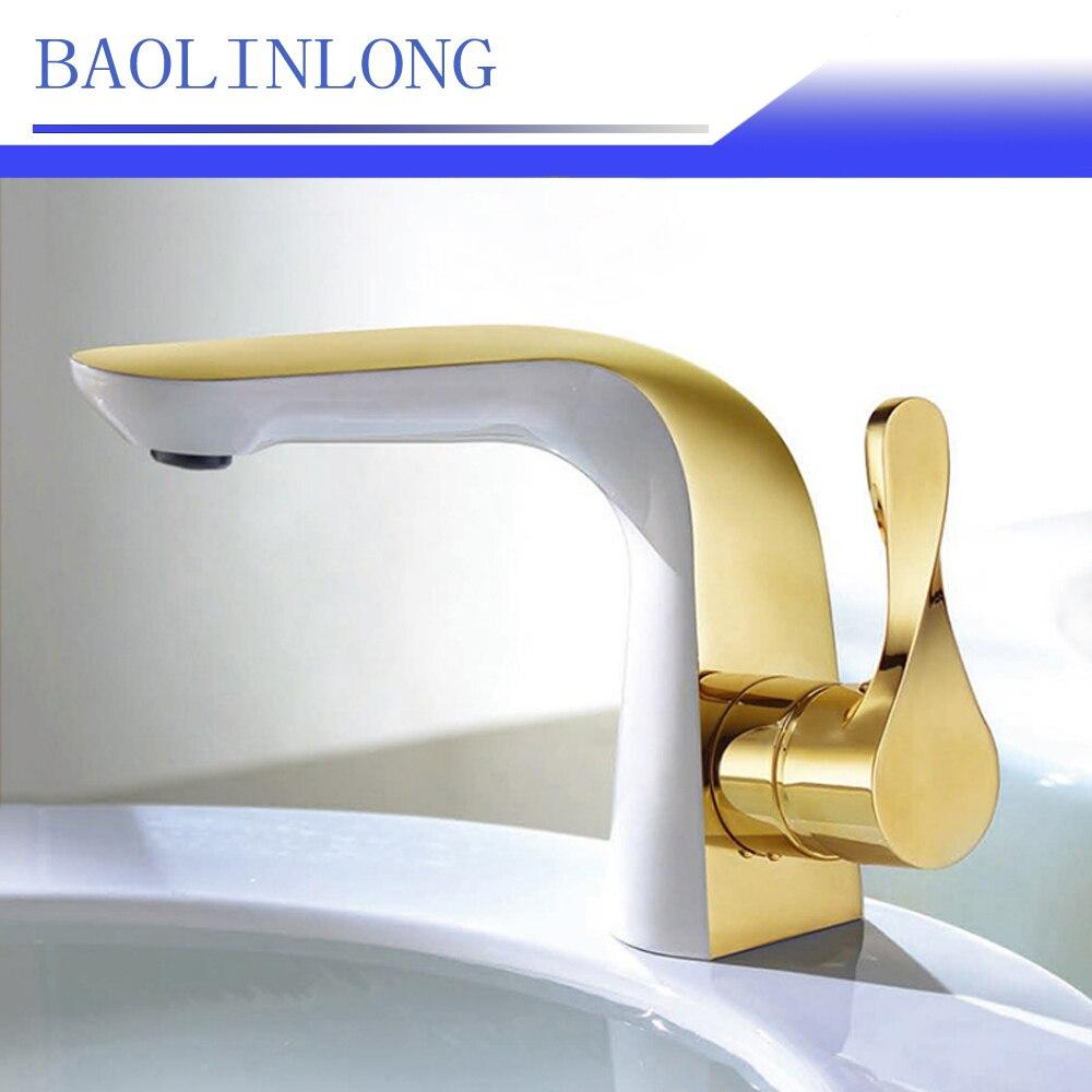 BAOLINLONG Baking Finish Style Brass Basin Deck Mount Bathroom Faucets Vanity Vessel Sinks Mixer Bath Faucet Tap