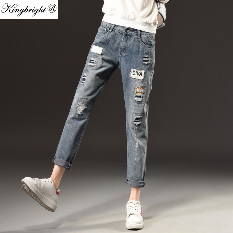 New Fashion Brand Jeans For Women New Fashion Spring Women Vintage Blue Jeans Loose Holes Denim ...