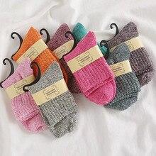 10 pares/lote meias de lã de coelho sólido feminino quente grosso outono e inverno novo