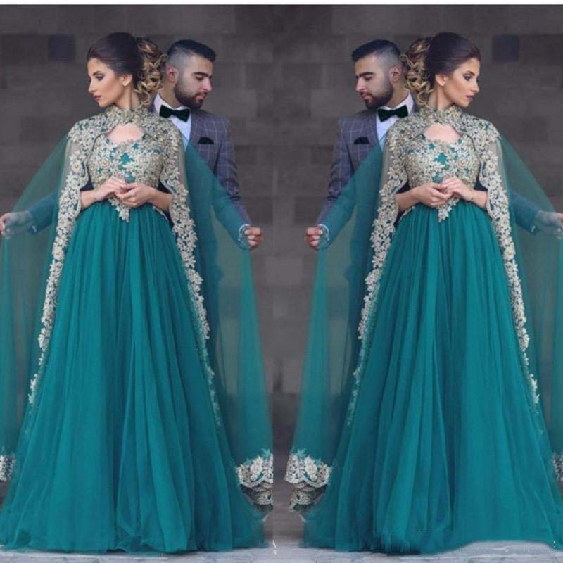 Hunter Green Abayas Kaftan Muslim Caped Long   Prom     Dresses   A Line High Neck Gold Lace Appliques Beaded Turkish Evening Gowns