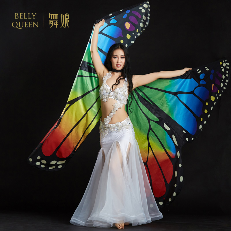 2018 nya magdans rekvisita 360 öppna fjärilsvingar för kvinnor mage dans tillbehör prestanda magdans vingar