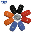 Silicone Car Key Cover Case For 3 Buttons Citroen C4 C5 DS4 ect. Folding Key Metal Key Chain 4 Colors Optional