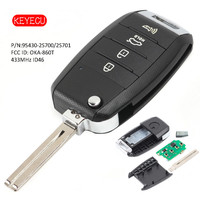 Keyecu Upgraded Flip Remote Key Fob 433MHz ID46 Chip 3 Button for Hyundai Tuscon 2011 2014 P/N: 95430 2S700