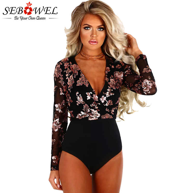 SEBOWEL Sexy Rose Gold Sequin Black Mesh Bodysuits Long Sleeve Women Skinny  Club Jumpsuits V Neck 193190c82