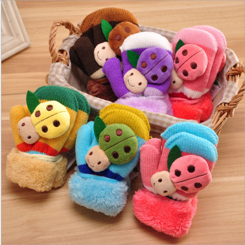 1-3y/3-7y Kids Winter Gloves Full Finger Baby Boys Girls  knitting Gloves Cute Animal Shape with String
