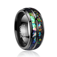 2018 newest Classical never fade rings Retro electroplated black inlaid shells Opal dome tungsten wedding gift rings