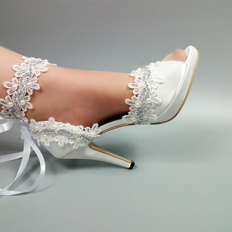 White Flower Wedding shoes Bride fashion Lace-Up woman party dress shoes Peep Toe platform shoes Bridesmaid female ankle strap ivory fashion lace flowers flat heel wedding shoes woman pearls ankle beading beaded anklet sweet flower girls bridesmaid shoes