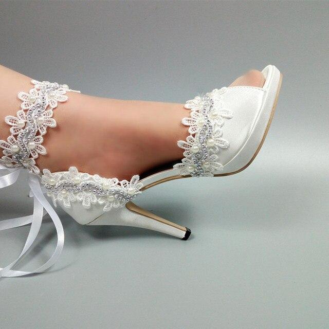 White Flower Wedding shoes Bride fashion Lace-Up woman party dress shoes Peep Toe platform shoes Bridesmaid female ankle strap