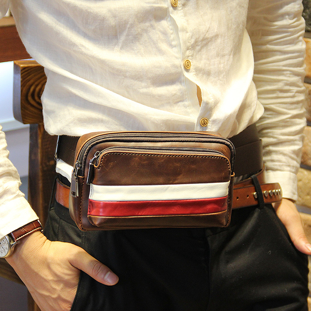 Hot new fashion PU leather men waist packs Brown fanny pack small travel bag for men  phone Pocket waist wallet Free shipping