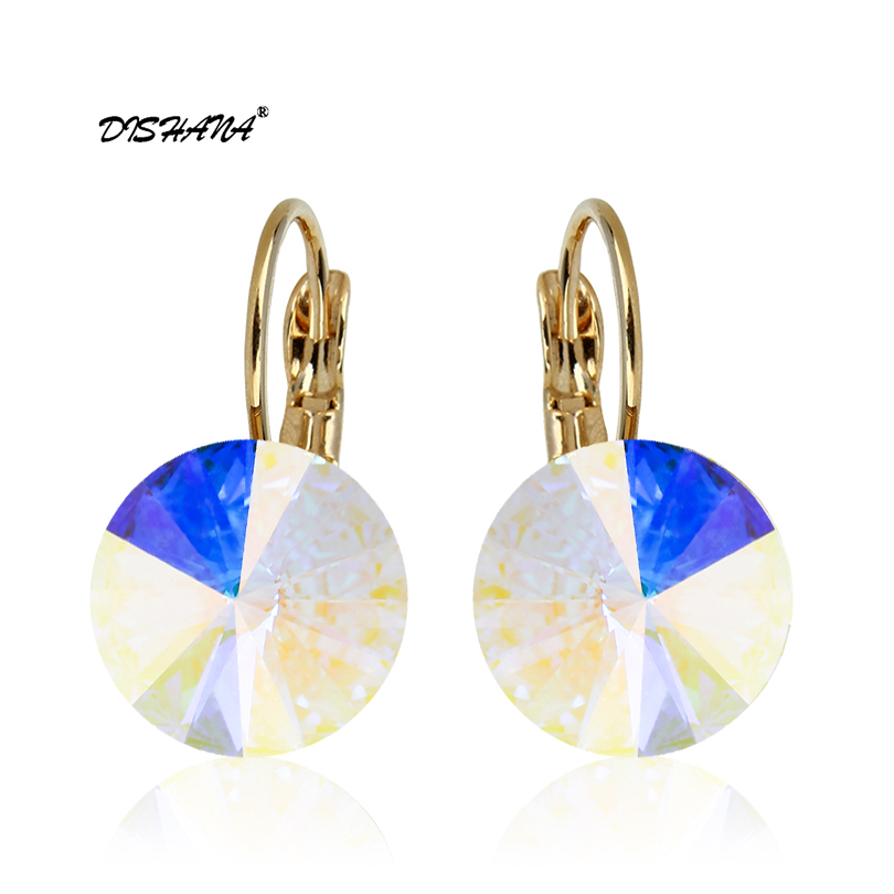 2016 Earings Fashion Perhiasan Merek Terkenal Austria Kristal Anting-Anting Emas-warna Drop Earrings Wanita oorbellen (E0001-1)