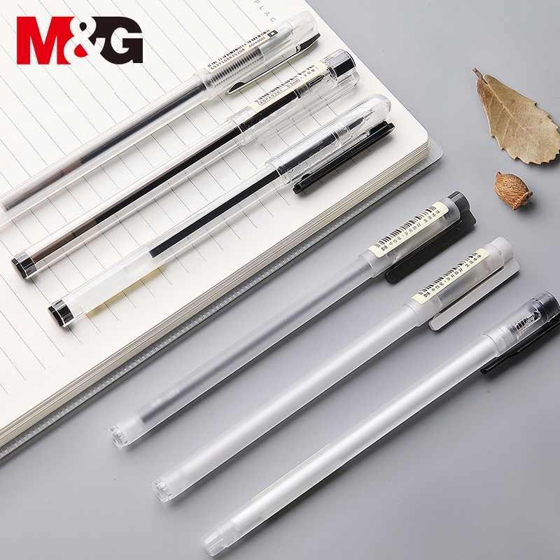 M & g ultra simples gel caneta conjunto livre caixa 0.35 0.38 0.5mm tinta preto gel canetas para escritório material escolar papelaria japonês gelpen
