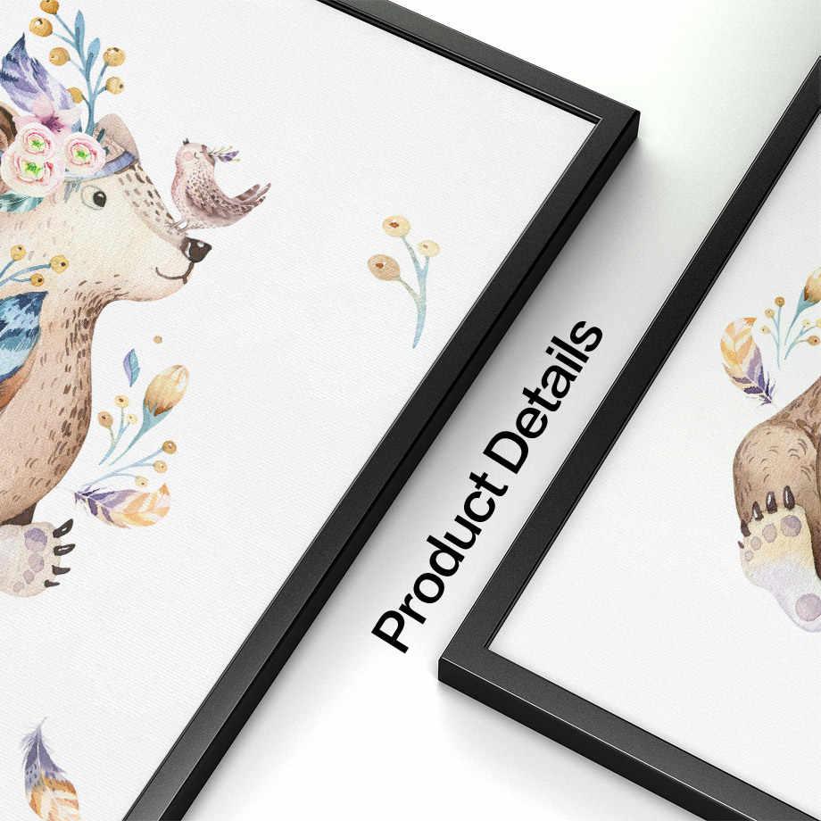 Акварельная сова кролик олень медведь настенная живопись на холсте скандинавские плакаты и принты Настенные рисунки с животными декор для детской комнаты