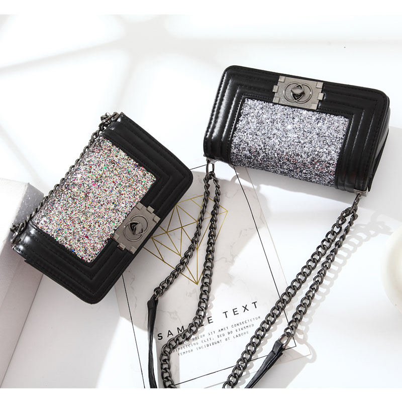 Women Fashion Small bling Messenger Square Bag PU Leather Crossbody Shoulder Bag Metal Chains Ladies Party Clutch Handbags in Shoulder Bags from Luggage Bags