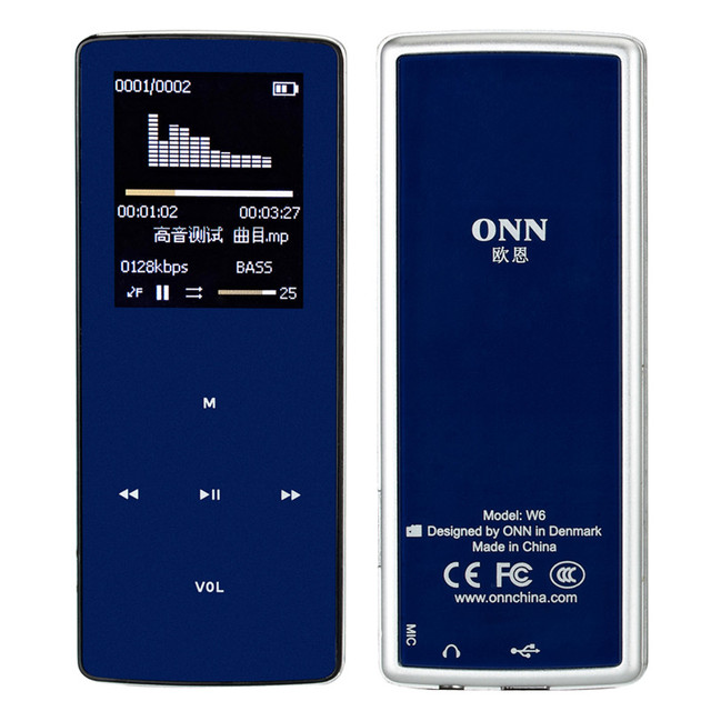 "ONN W6 Recargable 8 GB Bluetooth Reproductor de MP3 Mini Deportes Mp3 Music Media Reproductor de Audio Portátil con 1.8 ""Pantalla TFT Fm Radio"